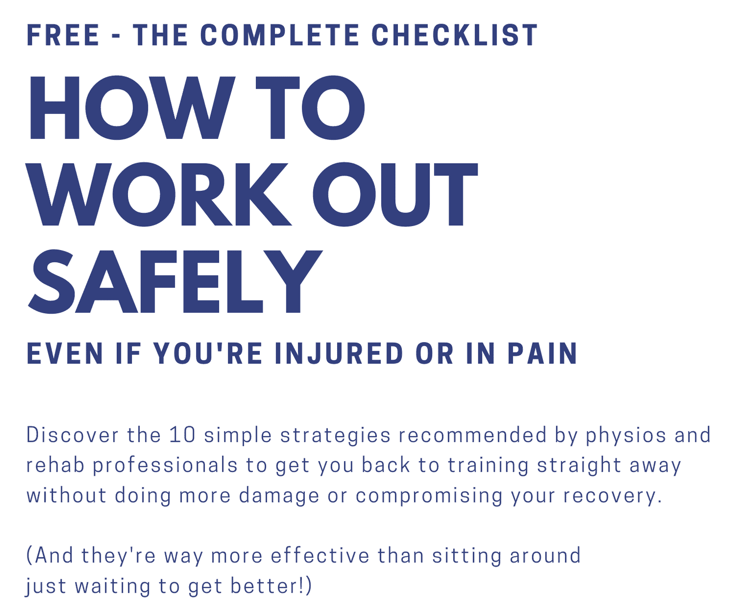 Workout Safely Checklist Free Download